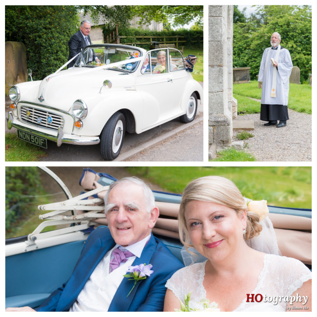 Brides arrival at All Saints Wighill